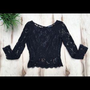 Bebe lace peplum,open back, long sleeve top NWOT